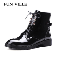 FUN VILLE 2017 New Fashion Women Ankle Boots Genuine Leather Hign Quality Martin Boots Black Flat
