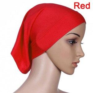 Image 4 - Müslüman İslam arap başörtüsü tüp Underscarf peçe elbise Abaya iç kapaklar şapkalar merserize pamuk elastik ayarlanabilir