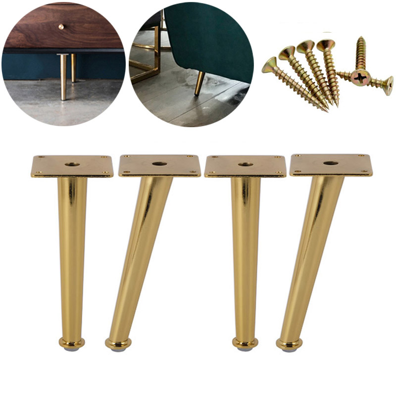 4Pcs Gold Furniture Table Legs Load 2000 Lbs TV Cabinet Foot Sofa Leg Hardware Cabinet Feet 200 X 80mm Tapered Leg