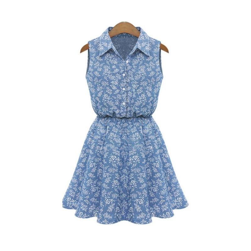 Summer dress mujeres de solapa sin mangas ocasional delgado denim a-line vestido