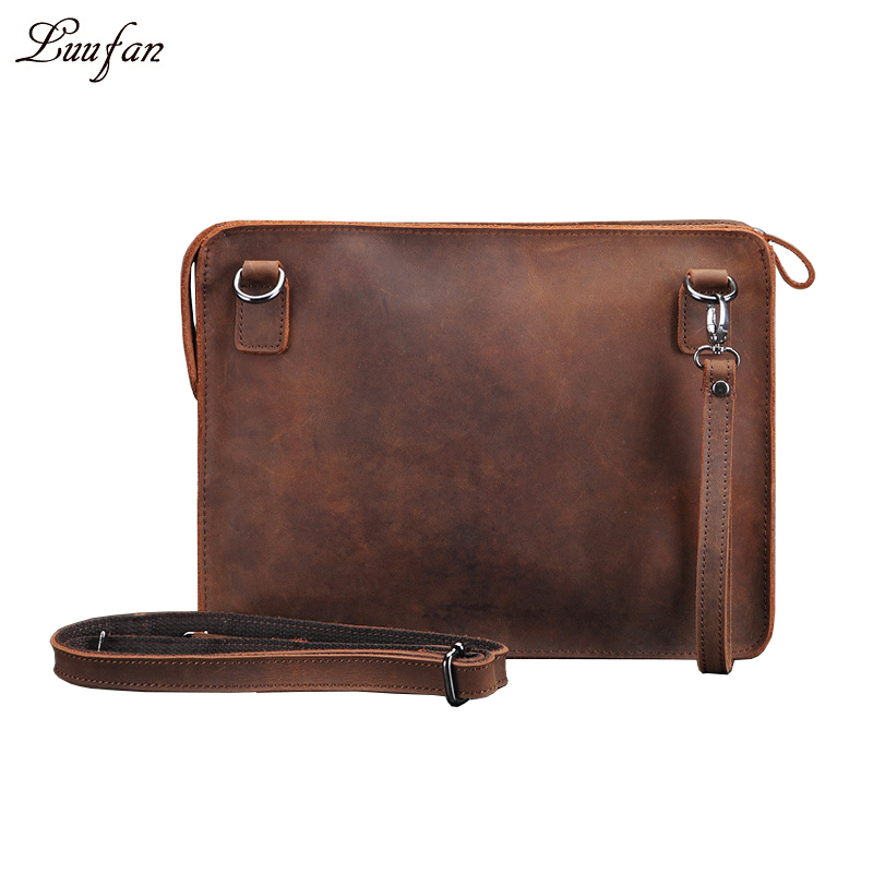 Men s Crazy horse leather clutch bag vintage genuine leather handbag high quality A4 iPad casual