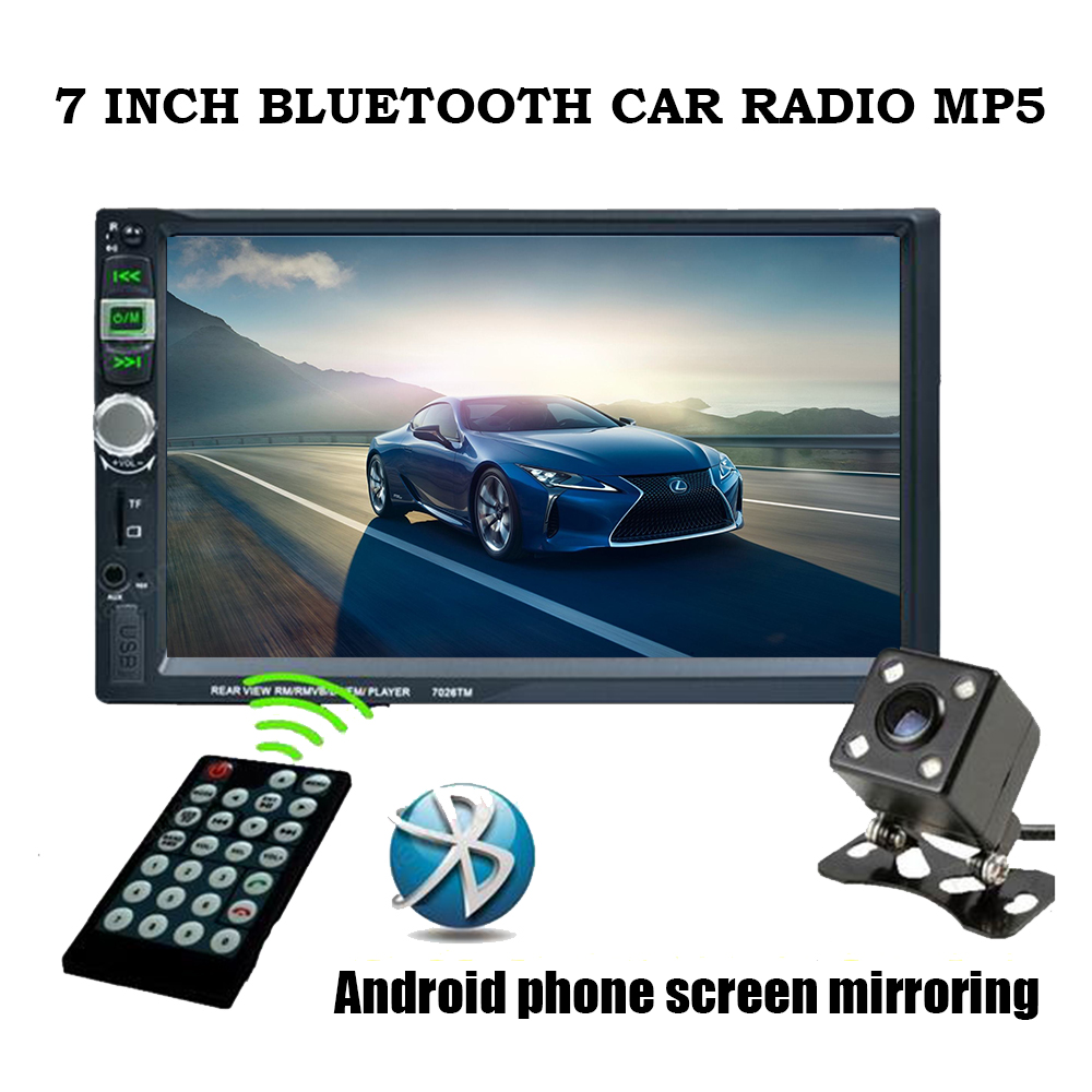 Bluetooth touch screen car radio AUX IN USB TF MP5 mp4 android phone screen mirroring with rear camera 7 inch 2 din stereo 2 din 7 inch car player mp5 fm radio bluetooth rear camera usb tf aux touch screen