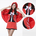 Fairy Tales Little Red Riding Hood lace fancy dress red cap Halloween party Masquerade Performance cosplay Costume