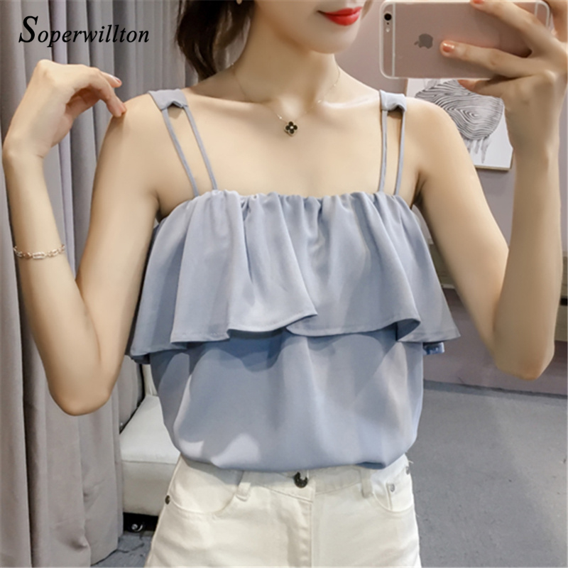 2018 Summer Sexy Chiffon cami Tank Top Women Slim Ruffles Tops Blouse Shirts Cool velvet Women Tops White Black Blue #C28