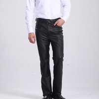 M 8XL Plus Size Genuine Leather Pants Men Regular Normal & Increase Thickness Straight Cool Casual Slim Style Men Pants Clothing