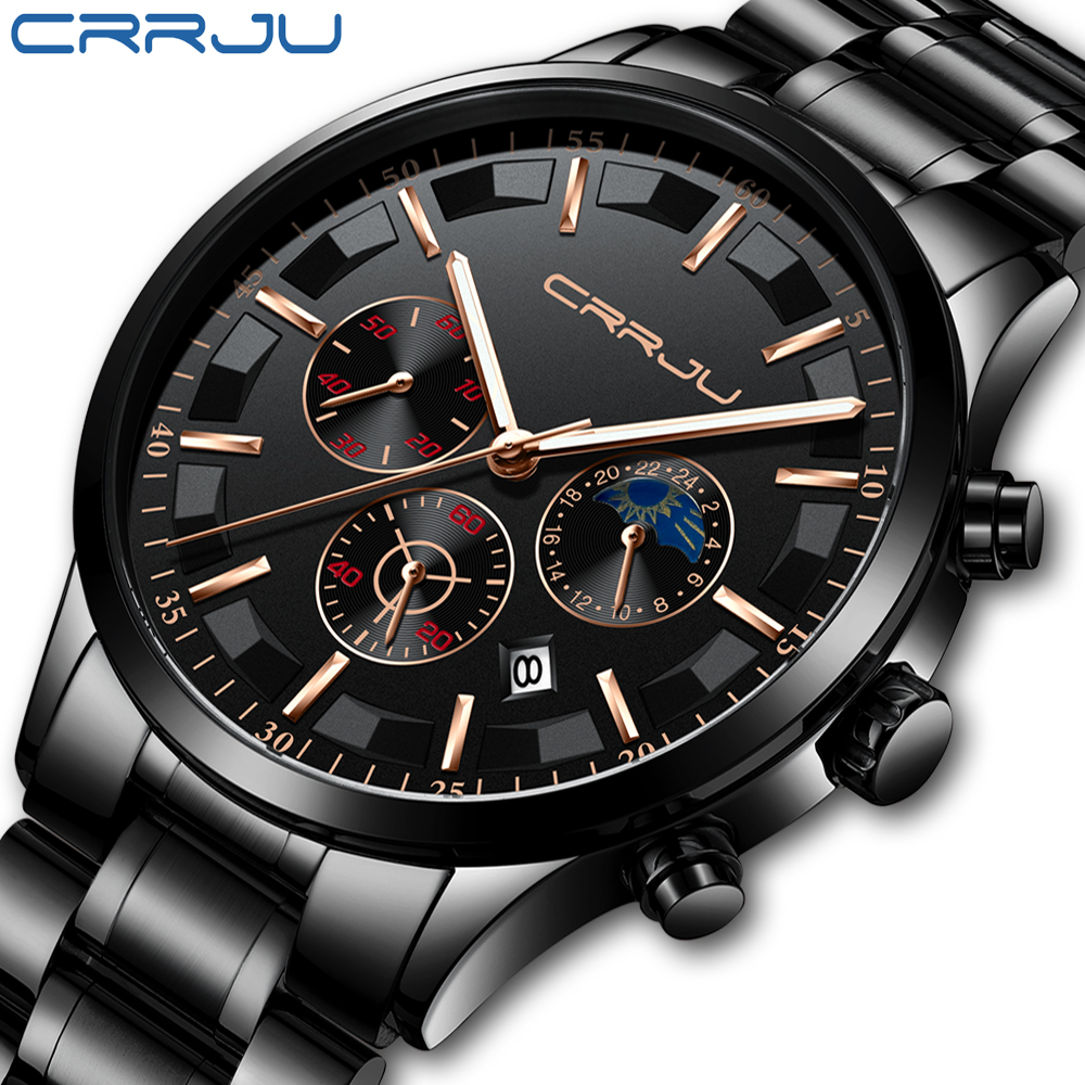 CRRJU Mens Watches Top Brand Luxury Fashion Business Quartz Watch Men Sport Full Steel Waterproof Black Clock Relogio Masculino