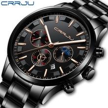 CRRJU Mens Watches Top Brand Luxury Fashion Business Quartz
