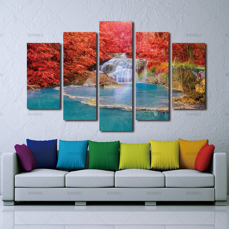 Wall Art Canvas painting Wall Picture Landscape Paintings Red Maple Leaf Forest Wall Decora For Decor Waterfall Artwork Giclee