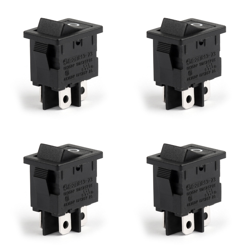 4Pin 2 Position Rocker Switch Waterproof R13-73A Boat Rocker Switch DPST ON-OFF 6A/250VAC 10A/125VAC 4PCS High Quality on the open shanghai wing star ship switch kcd6 21n f ip65 waterproof switch 6a 4 foot red 220v