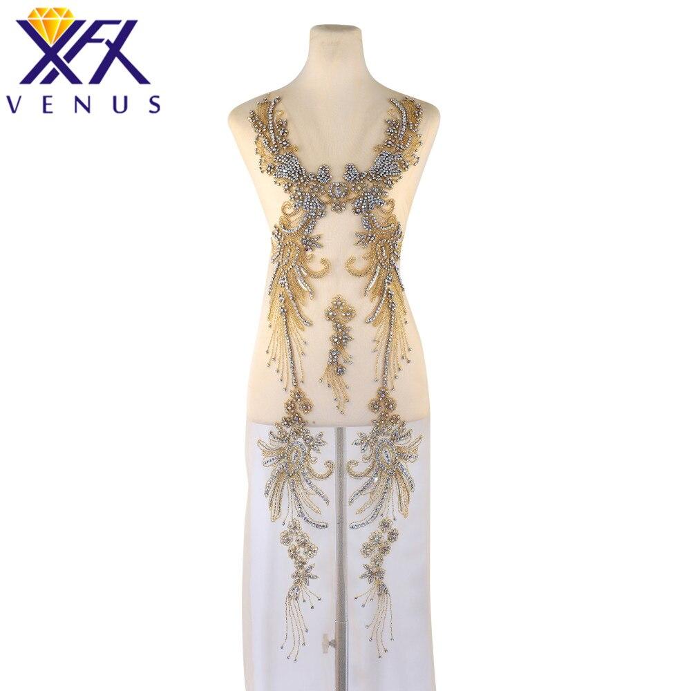 XINFANGXIU Handmade Dress Beads Applique Rhinestones Embroidery Patch Beaded Applique Beads Fabric Patch DIY Handcraft Apparel