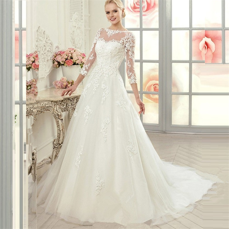 2015 Vintage 3/4 Sleeve Princess Lace Ball Gown Wedding Dress Scoop ...