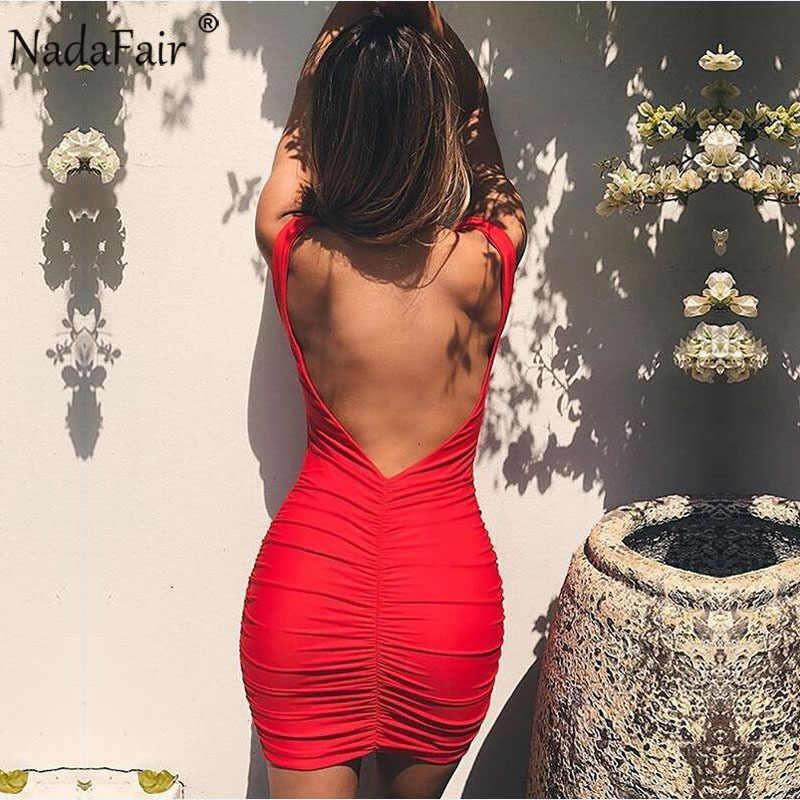 Nadafair שרוולים ללא משענת סקסית Bodycon מועדון המפלגה שמלת נשים V צוואר אדום שחור לבן כתום Ruched מיני מקרית שמלת הקיץ