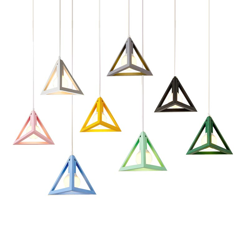 купить Modern simple Iron art pendant light Creative personality Triangle shape Macarons Foyer restaurant decoration hanging lamp онлайн