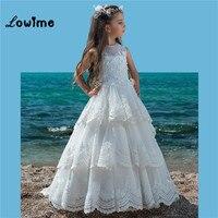 Белый Нарядные платья для девочек Vestido De Daminha платья для девочек 2018 Многоуровневое аппликация цветок тюль Vestidos De Primera Comunion
