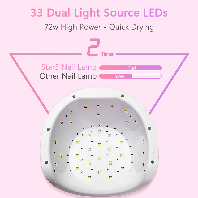 ROHWXY UV LED Lamp For Nails Dryer Sun Light Lamp For Manicure 72W Smart LCD Display For All Gel Nail Polish Nail Art Tools
