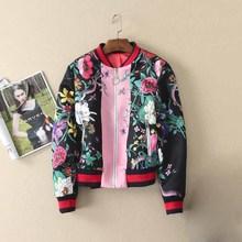 High Quality 2017 Women Bombers Floral Jacket Spring Baseball Jackets Fringe Basic Coat Boho Punk Ladies Windbreakers Coats