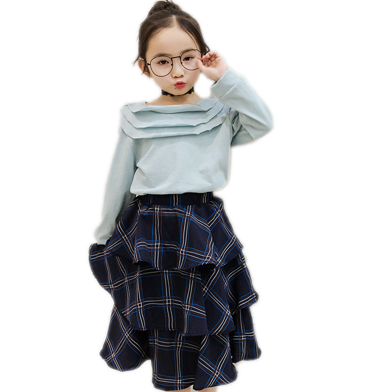 girls clothing sets 2017 new spring girls clothes solid long sleeve t shirt+plaid Layered dress children clothing kids clothes acthink 2017 new girls formal solid lace dress shirt brand princess style long sleeve t shirts for girls children clothing mc029