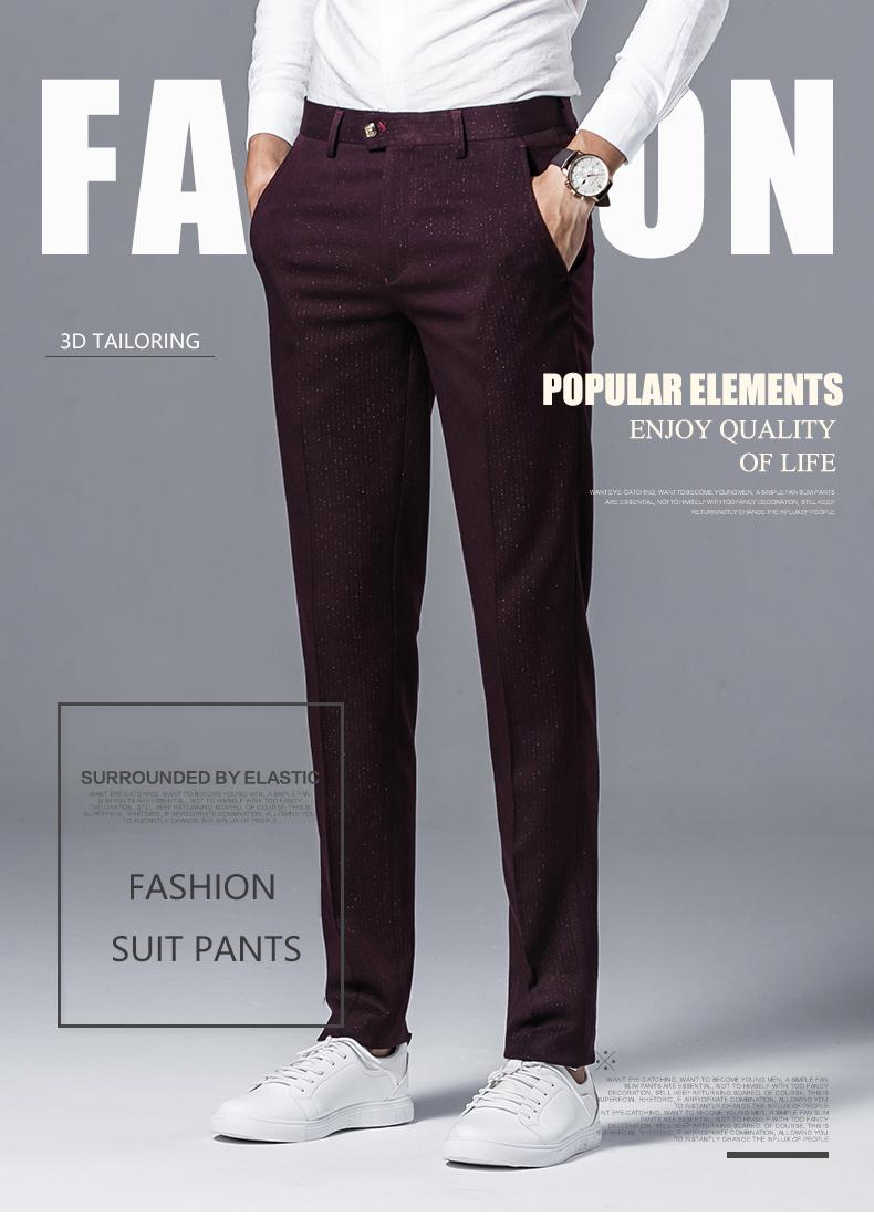 6157c0df19d3 2019 Desirable Time Men Burgundy Suit Pants Slim Fit Size 28 36 ...