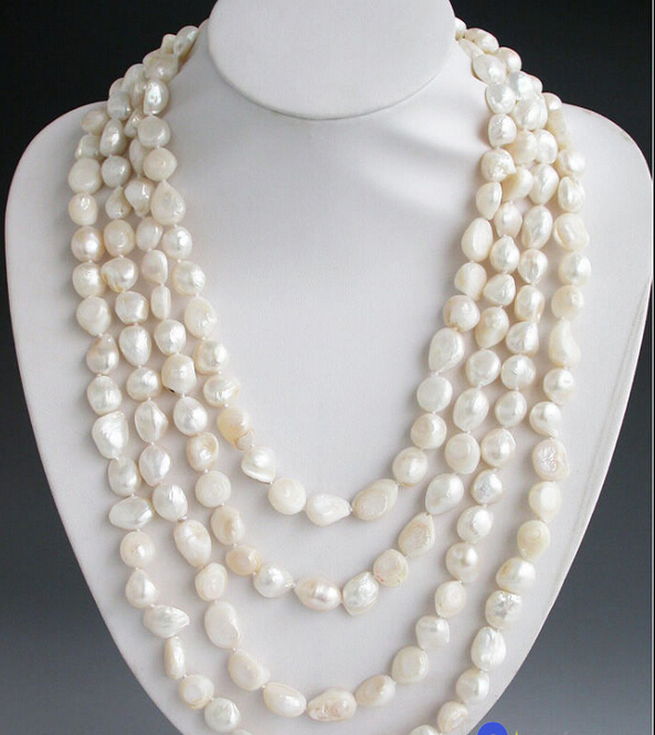 Free shipping@@@@@ Long 100 13mm white baroque freshwater cultured pearl necklace