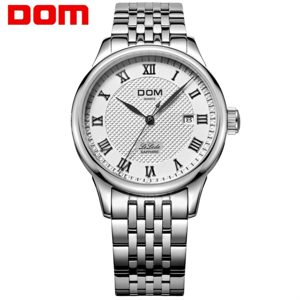 DOM Men Luxury Watch Antique Stainless Steel Quartz Watch Top Brand Waterproof Clock Man Watches Relogio Masculino M-41D-7M