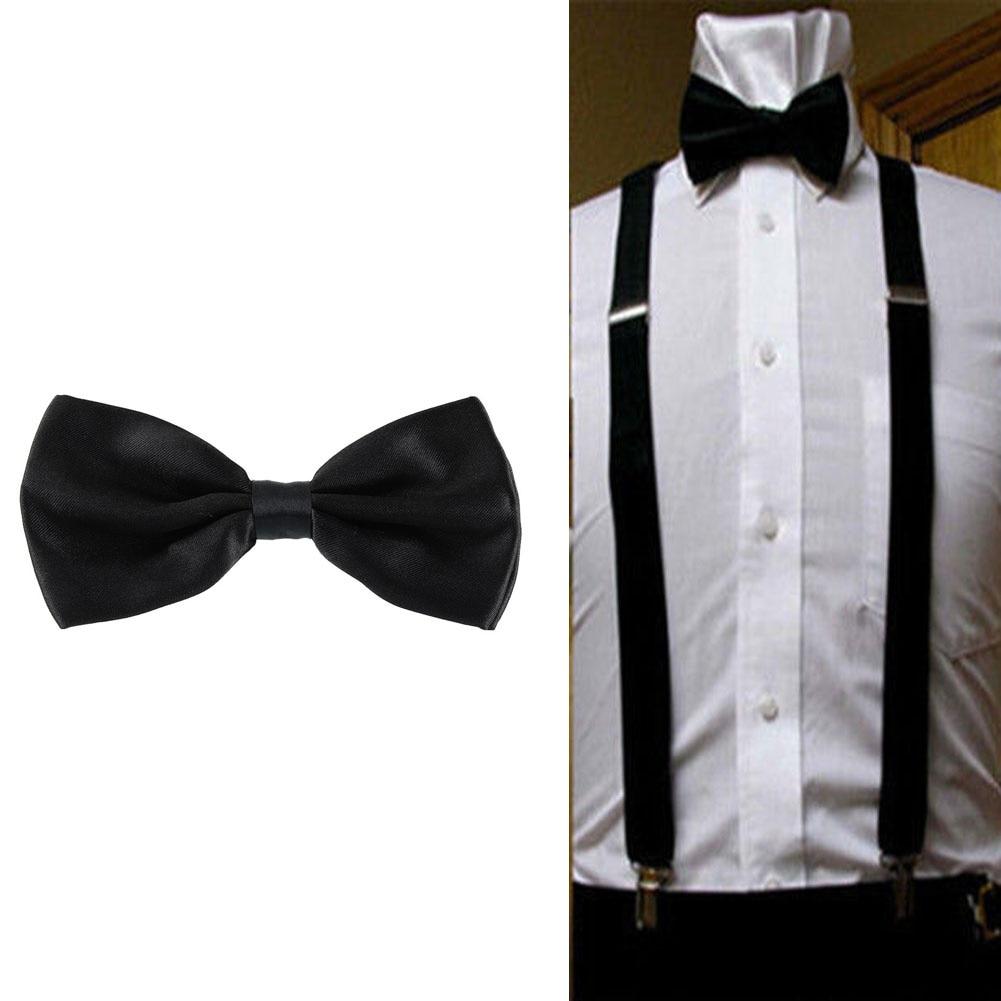 Retro Adjustable Elastic Clip-on Y-back Suspenders Bow Tie Set Solid Black Shows Wedding Party For Unisex