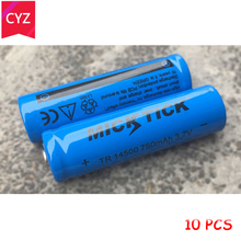 10PCS 3.7V 14500 TR14500 MICKTICK Battery 750mAh lithium Li Ion Rechargeable Capacity Batteries batteria flashlight Red LED