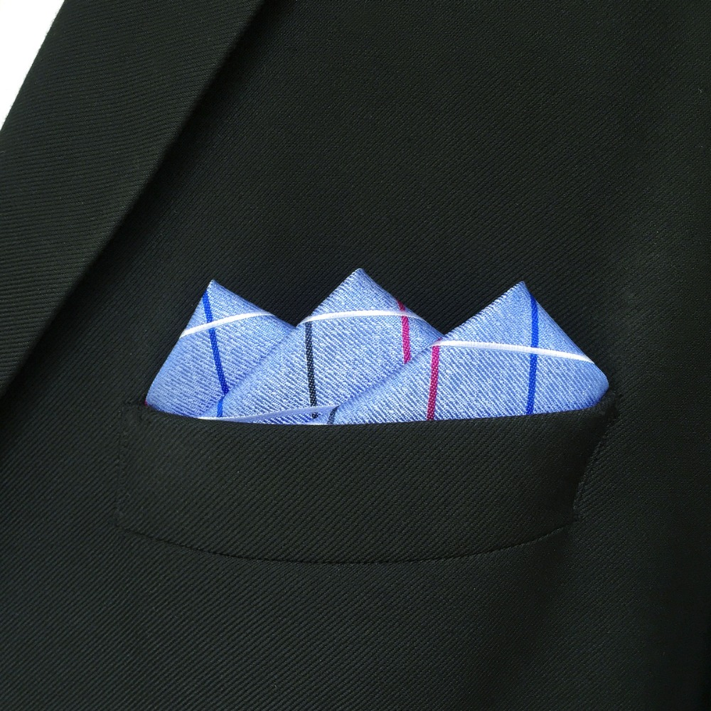 EH36 Azure Blue Checkes Silk Pocket Square Classic Handkerchief Accessory