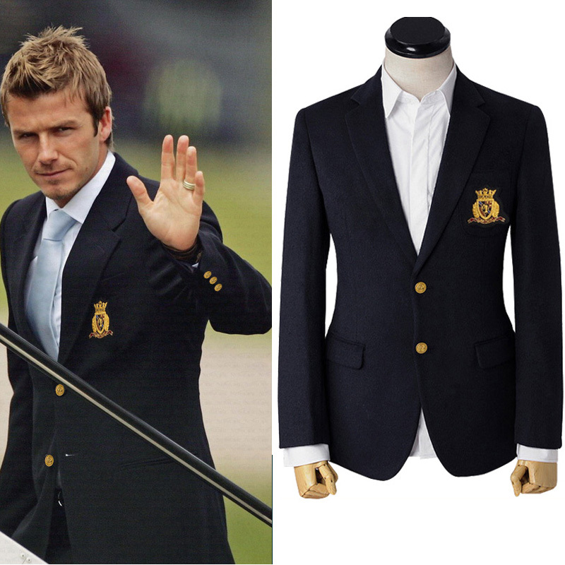 Online Shop Men's woolen jacket men suit thermal dark blue Beckham ...