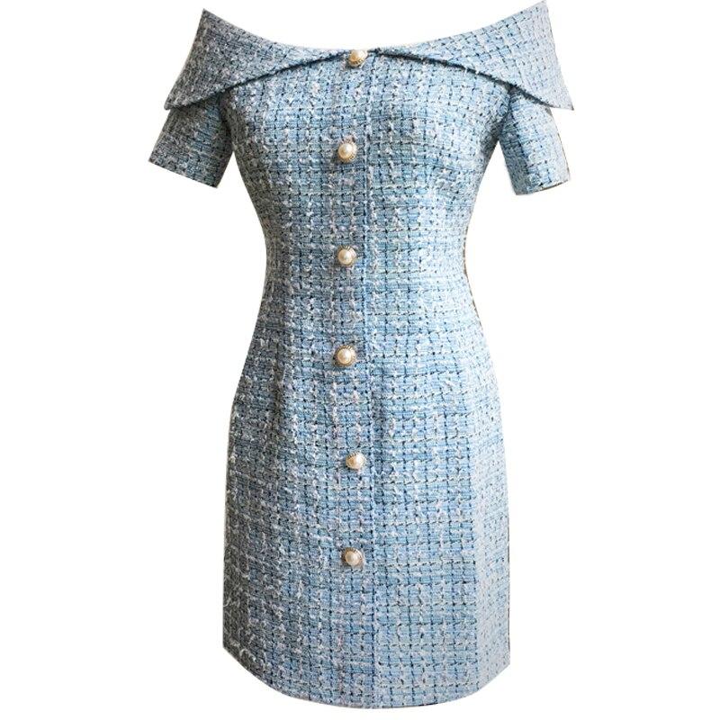 Marke mode frauen high end luxus frühling sommer elegante beiläufige reizvolle wort kragen damen partei dating kleid