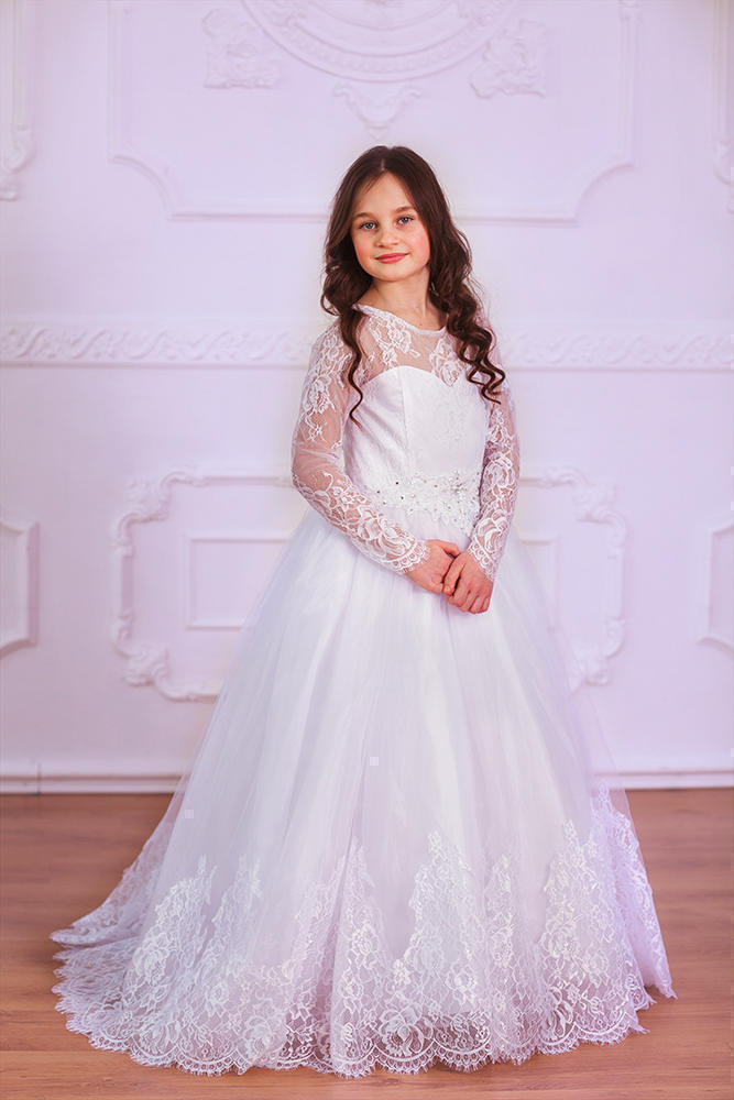 2017 Lace Sheer Flower Girl Dress Birthday Party First communion Dresses Gown flounce embellished sheer lace teddy