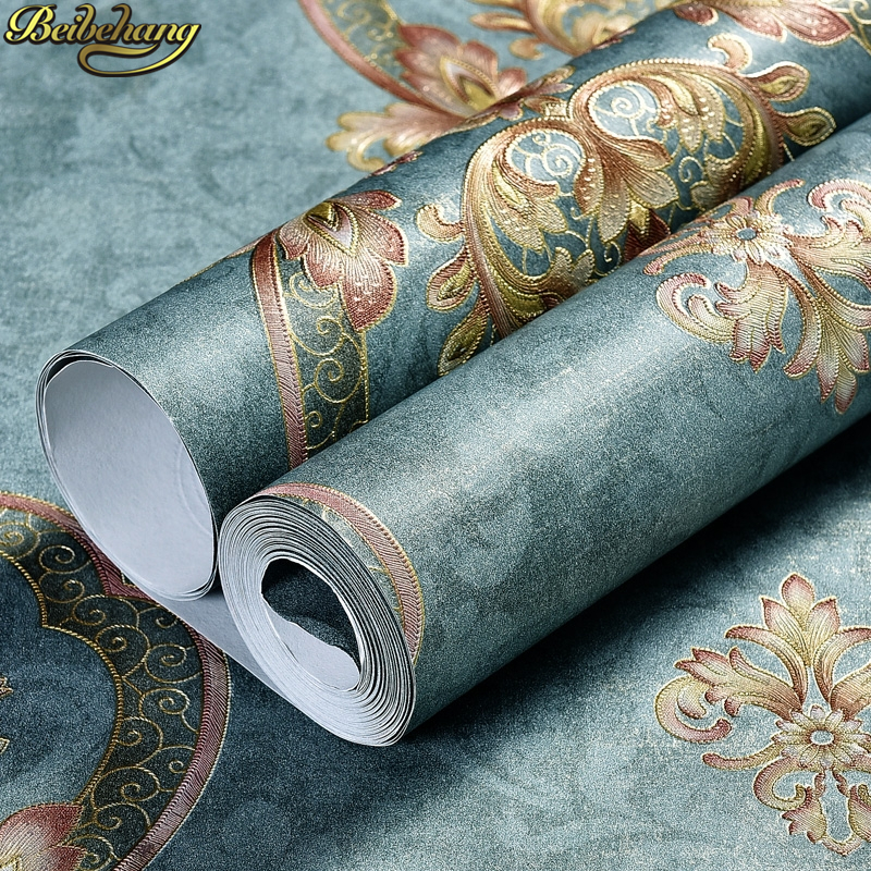 beibehang Vintage green damascus sculpture wallpaper retro European bedroom wallpaper for living room TV background long fiber beibehang european style damascus high end deerskin thick vertical stripes bedroom background living room wallpaper