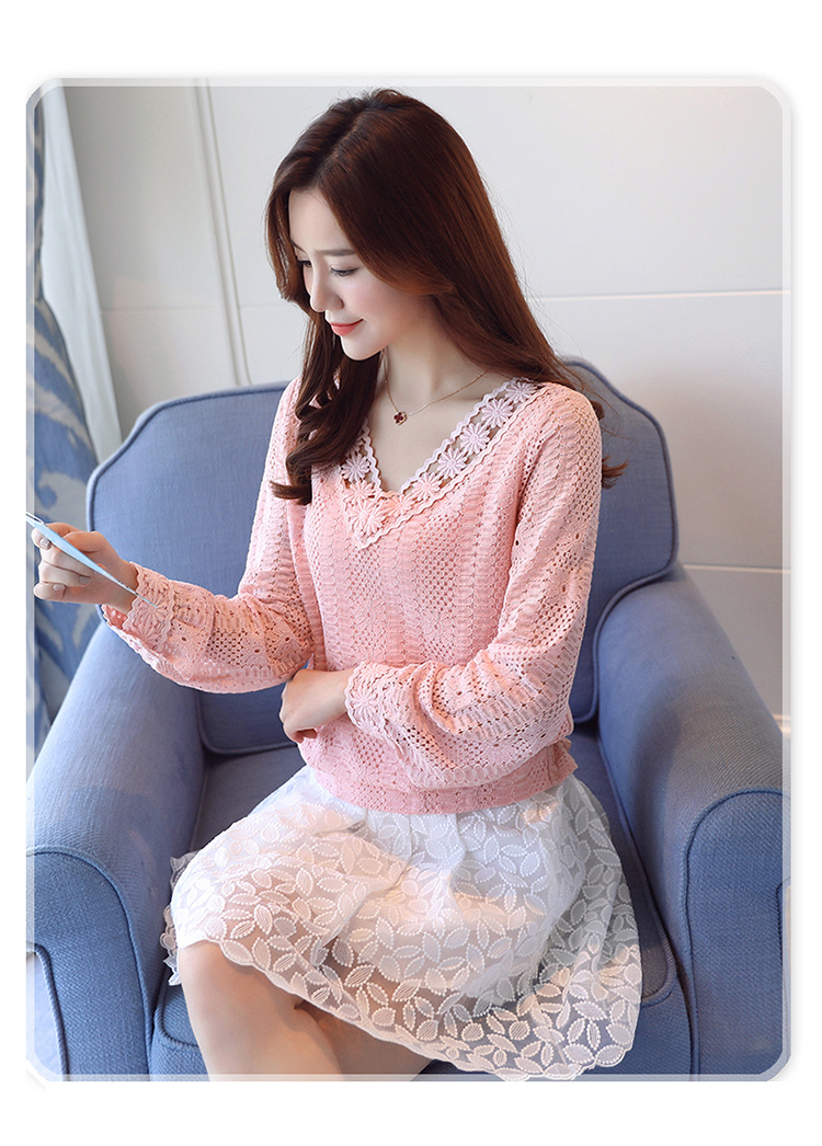Xxl Crochet Women Lace Blouses Long Sleeve Ladies Tops Fashion Blouses Pink White Shirts 2018 New Spring Female Clothing T81029a Women's Clothing