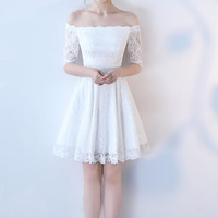 New Women Formal Lace Dress Summer Prom Off Shoulder Party Wedding Gown Half Sleeve Short Mini Dresses Solid White blue