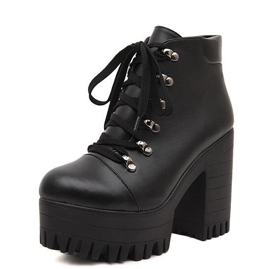 Online Shop black platform shoes woman winter autumn punk booties ...