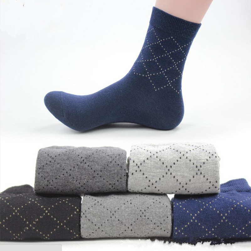 5 Pairs/Lot New Arrival Cotton Mens Socks Casual Business Grid Mens Socks Winter Warm Man Socks Crew Mens Socks