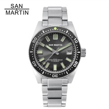 San Martin 62MAS Men Automatic Watches 200m Water Resistant 12 Luminous Bezel Stainless Steel strap diving Wristwatch for male