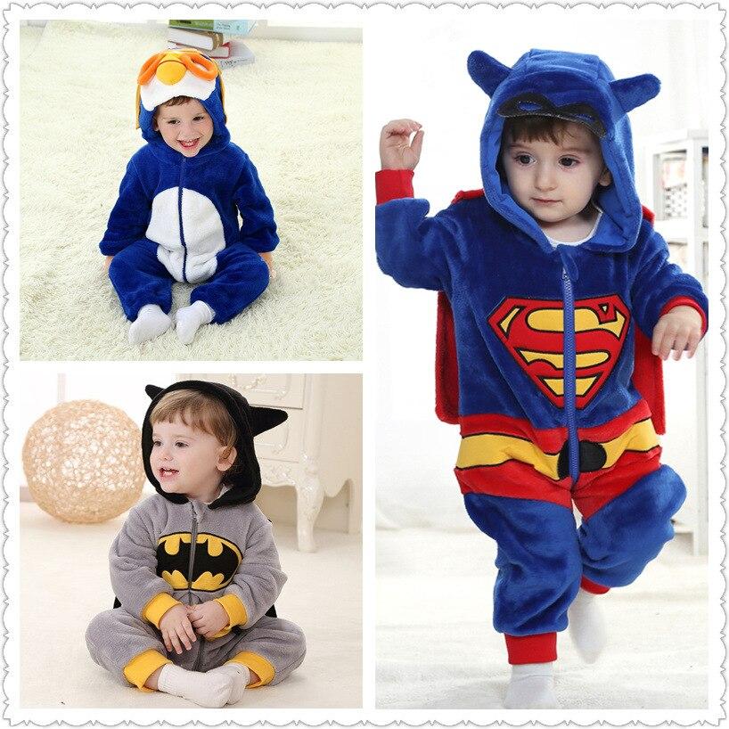 Baby Boy Girl Hooded Rompers Cartoon Cosplay Costume Newborn Infant Jumpsuit Spiderman Batman America captain Superman Clothes