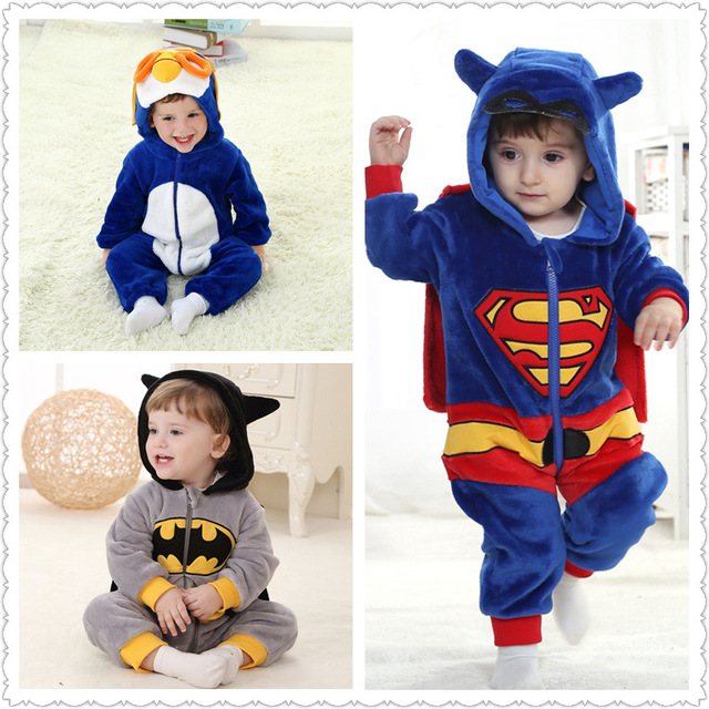 0fca686b8f268 US $22.8 5% OFF|Baby Boy Girl Hooded Rompers Cartoon Cosplay Costume  Newborn Infant Jumpsuit Spiderman Batman America captain Superman  Clothes-in ...