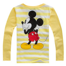 New Children Long Sleeve T-Shirts Hitz Cotton Mickey Tops Tee Kids Clothing baby Boys Girls Pattern Cute Round Neck Pullovers(China)