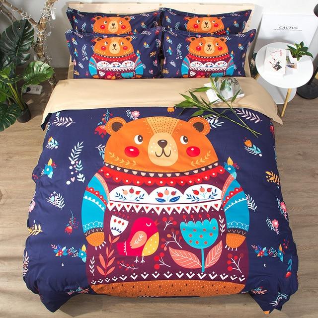 Free shipping gift cute bear bird flower geometric pattern kids' bedding Quilt duvet Cover Set pillow sham twin full queen king
