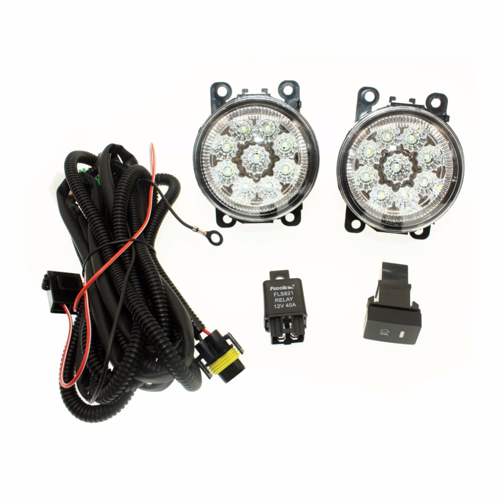 For Ford C-Max / Fusion 2013-2014 H11 Wiring Harness Sockets Wire Connector Switch + 2 Fog Lights DRL Front Bumper LED Lamp for subaru outback 2010 2012 h11 wiring harness sockets wire connector switch 2 fog lights drl front bumper 5d lens led lamp