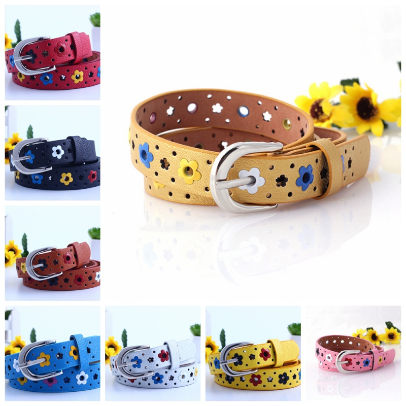 7993 KIDS CHILDREN BOYS GIRLS Hollow Flower Waistband Faux Leather Belt Silver Buckle