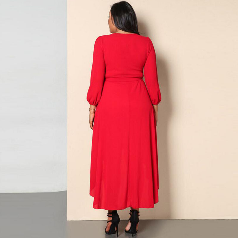 Temperament commuter comfort solid color belt knit midi dress deep V asymmetric long sleeve large size dress free shipping in Dresses from Women 39 s Clothing