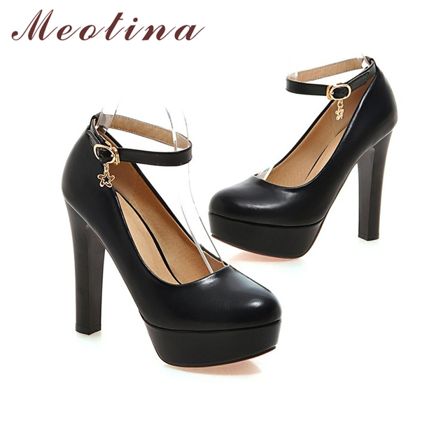 Meotina Shoes Women Pumps Sexy Platform High Heels Ankle Strap Extreme High Heels Bridal Shoes White Wedding Shoes Purple 34-39