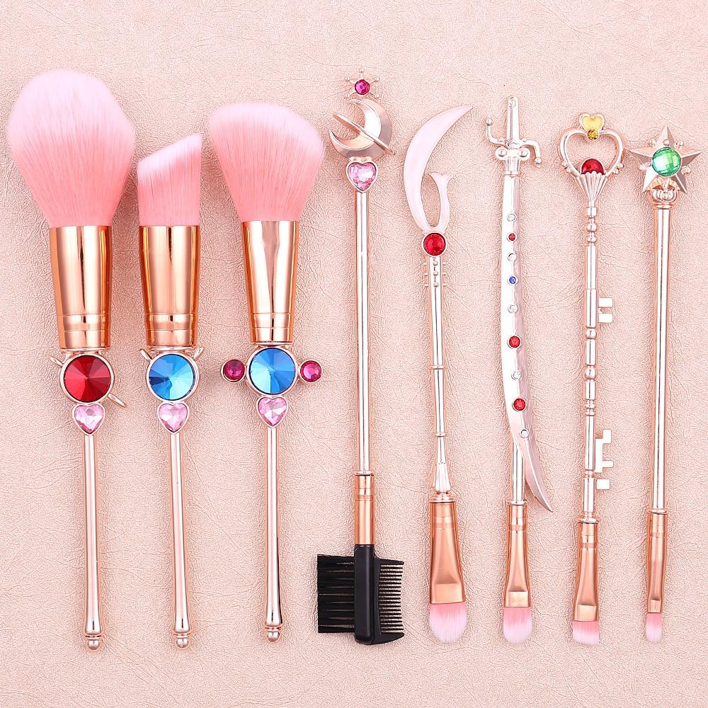 Classical Anime Sailor Moon Makeup Brushes Metal Handle Foundation Powder Blush Smudge Shader Multifunction Brush Beauty Tool
