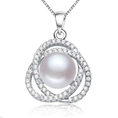 2016 Fashion Pearl Necklace 3 Colors High Quality Natural Pearl Pendant 925 Sterling Silver Pearl Jewelry For Women Gift
