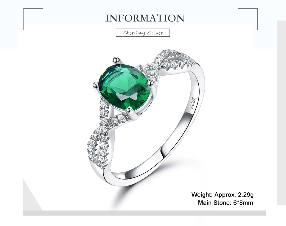 UMCHO Emerald  925 sterling silver rings for women RUJ099E-1-pc (2)