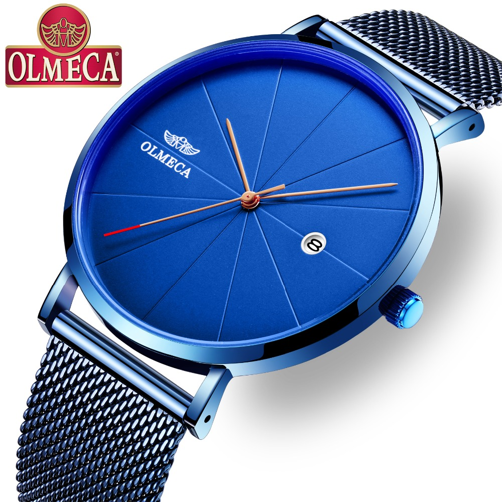 OLMECA Brand Fashion Men Sport Watches Quartz Hour Date Clock Military Wathces Army Waterproof Wrist Watch Mesh or Leather Band