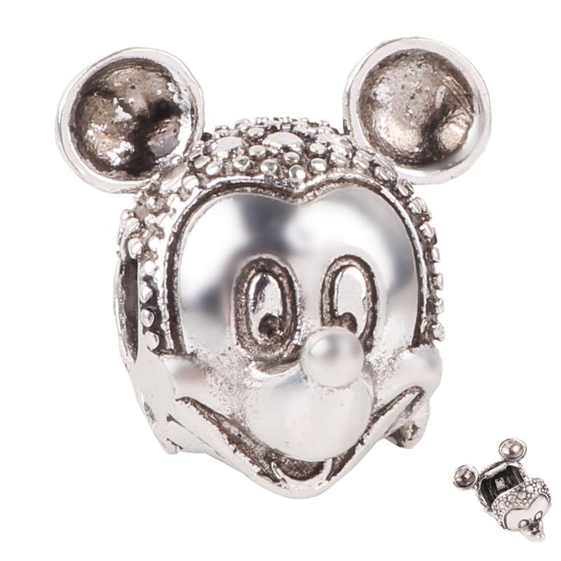 1pc European Silver Shell Zircon Mickey Minnie DIY Bead Fit Original Pandora Charms Silver Bracelet Trinket Jewelry For Women in Beads from Jewelry Accessories