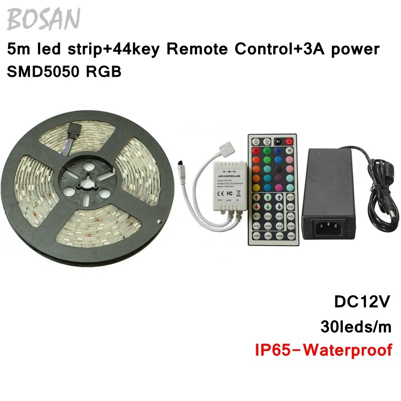 ФОТО Waterproof LED Strip 5050 RGB Flexible Light 5m 30leds/m 44key Remote DC12V 3A Power Supply